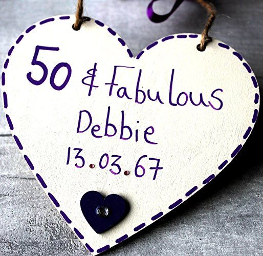 MadeAt94 Customized 50 And Fabulous Birthday Gift Heart For Mom Sister Grandma