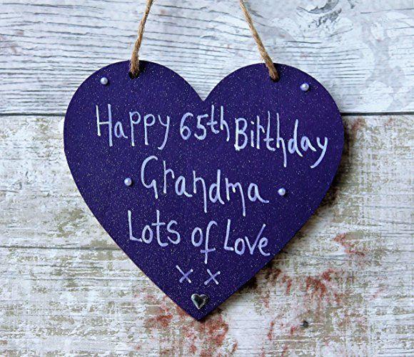 MadeAt94 Customized Happy 65th Birthday Grandma Purple Heart Plaque Sign Handwri...