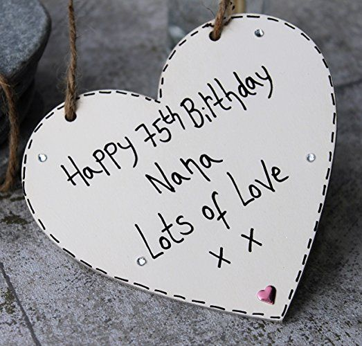 Birthday Gifts MadeAt94 Handmade Gift Heart Plaque Happy 75th
