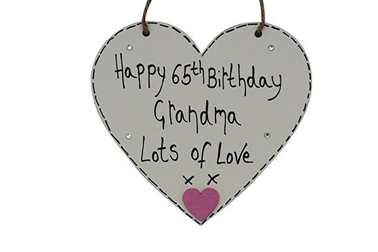 MadeAt94 Handmade Happy 65th Grandma Wooden Cream Heart Gift
