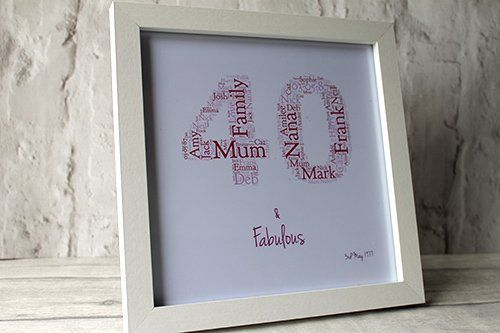 Birthday Gifts MadeAt94 Personalised 40th Gift Word Art