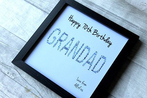 Birthday Gifts MadeAt94 Personalised 70th Gift Word Art
