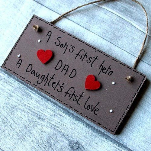 MadeAt94 Personalized Wooden Sign A Sons First Hero DAD Father's Day Gift Bi...