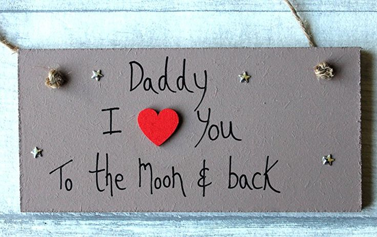 MadeAt94 Personalized Wooden Sign Daddy Gift I Love You to the Moon and Back Bro...