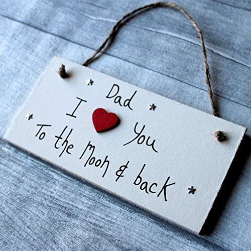 MadeAt94 Shabby Chic Personalized Wooden Sign Dad..I Love You To The Moon And Ba...