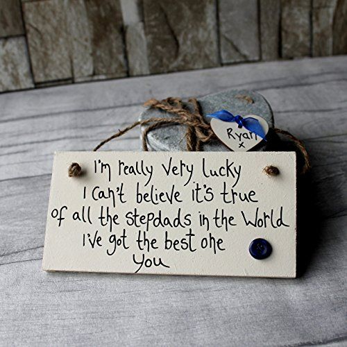MadeAt94 Step Dad Father's Day and Birthday Sign Gifts Plaque Present From S...