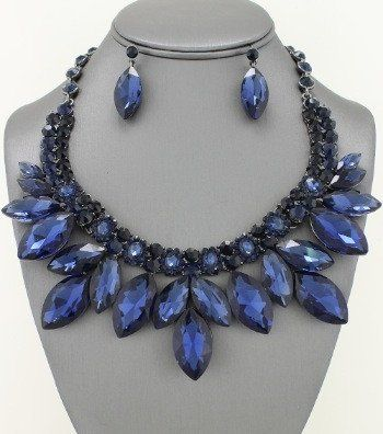 Birthday Gifts Marquis London Blue Crystal Collar Necklace