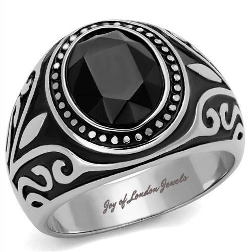Birthday Gifts Mens or Womens Stainless Steel Black Onyx