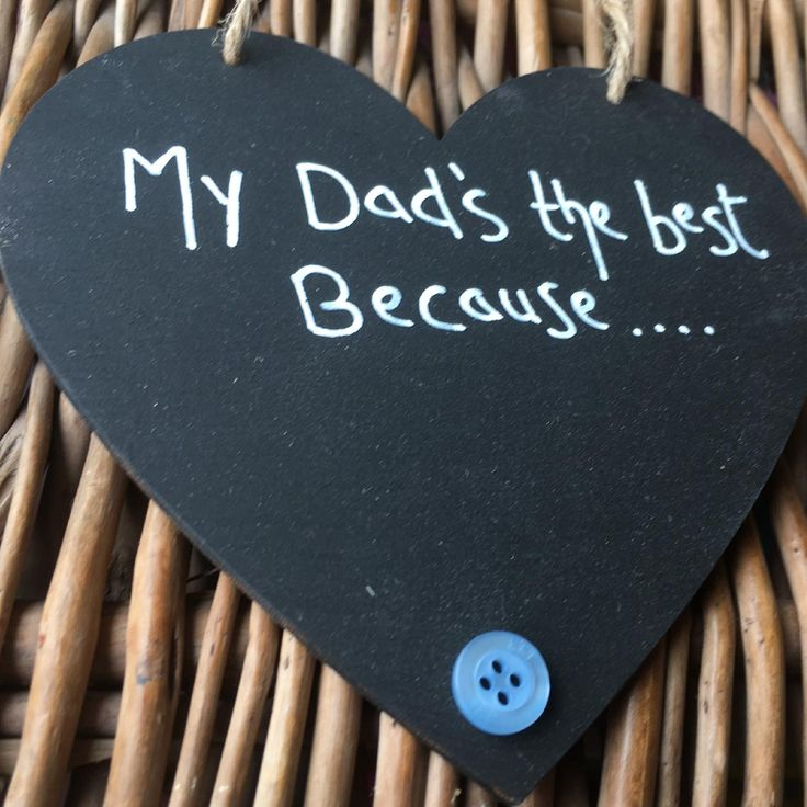 My Dad's the best Because Chalkboard Heart with Button - Little Miss Scrabbl...
