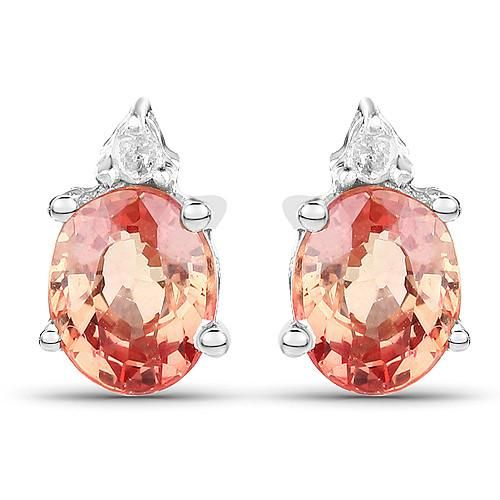 Natural Oval Cut Sunset Pink Orange Sapphire & Natural Diamond Stud Earrings