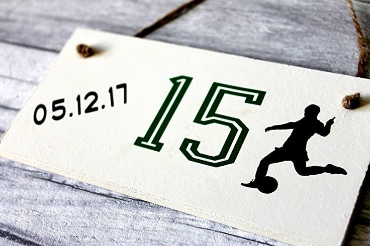 Soccer 15th Birthday Gift Sign 15 Year Old Personalized Bedroom Door