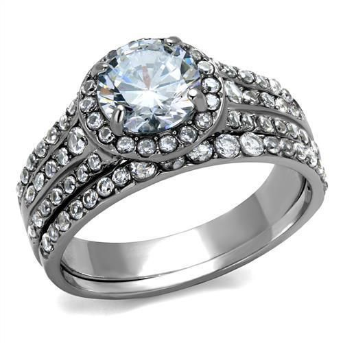 The Kaitlyn, A Perfect 1.9CT Round Cut Halo Russian Lab Diamond Bridal Set Ring