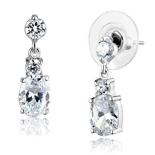 The Regent, A 2.54TCW Oval Cut & Round Cut Cubic Zirconia Bridal Drop Earring Se...