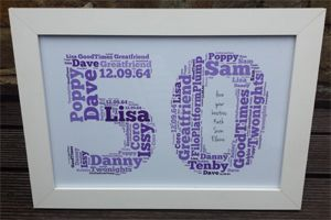 Birthday Gifts Words Personalised 50th Word Art Birthday Gifts