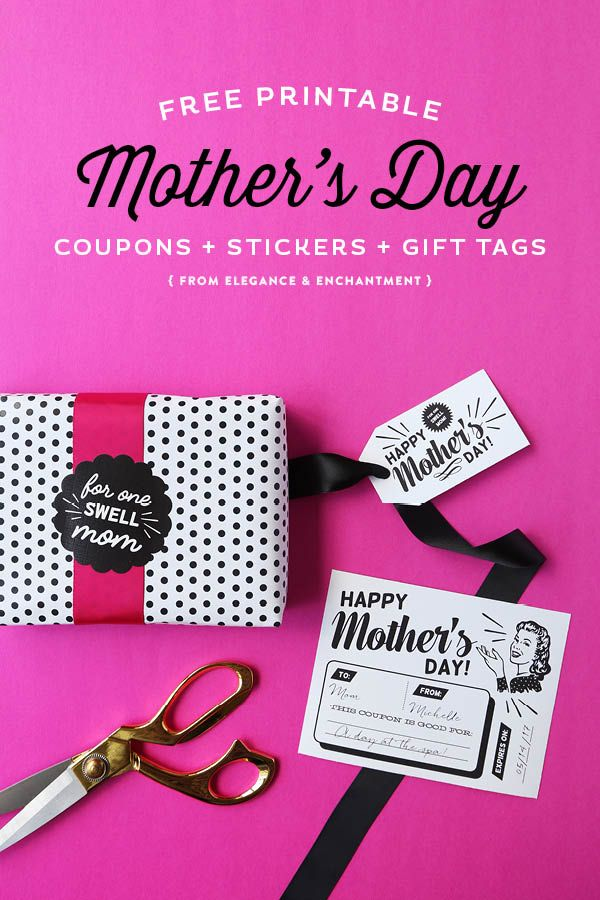 Celebrate Mother's Day with these free printable, retro-styled coupons, gift t...