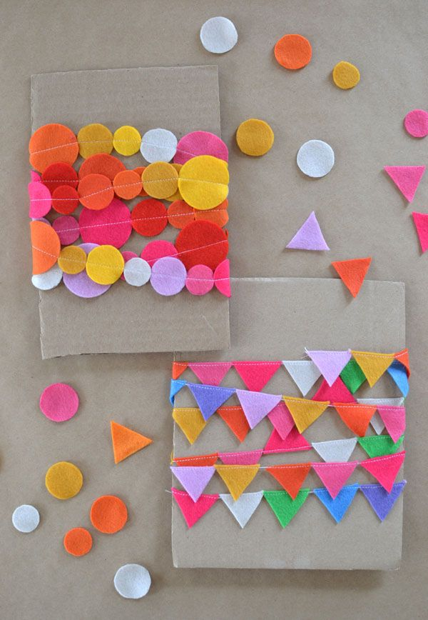 Make this  colorful mini felt garland with a sewing machine.