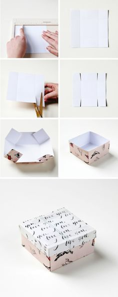 DIY: gift box. I do this with recycled Christmas cards! Any cards really. No mat...