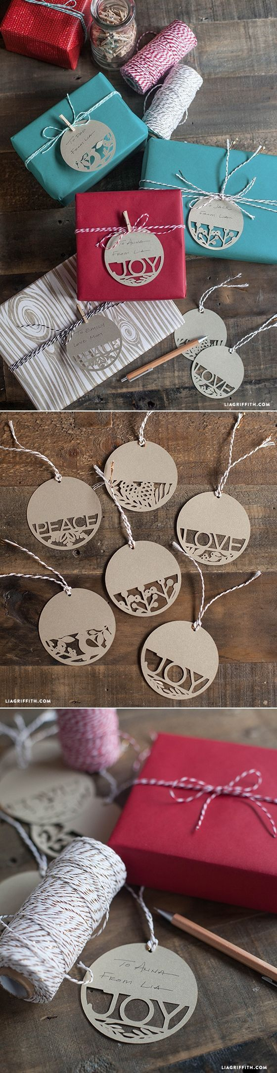 DIY Holiday Gift Tags by Lia Griffith. Kraft cardstock tages will stand out agai...