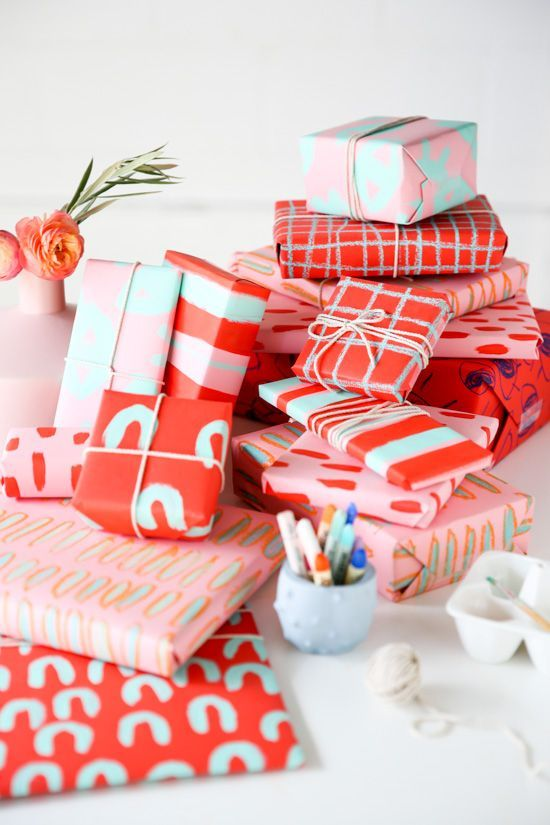 DIY holiday gift wrap for pattern lovers using chalk pastels and acrylic paint