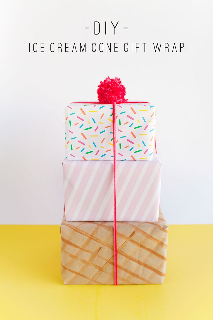 make this fun ice cream cone gift wrap! Because presents are always cuter when t...