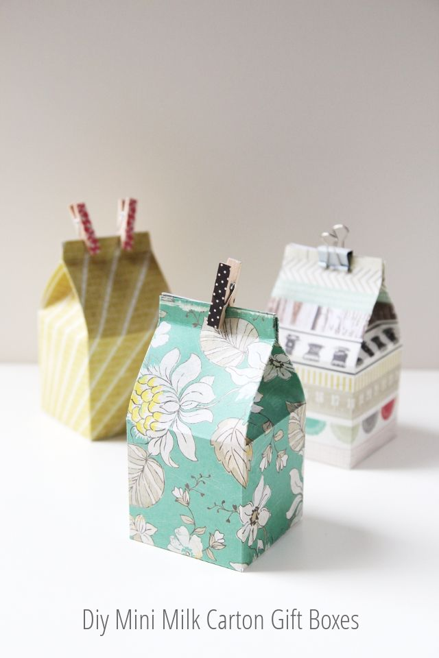 DIY Milk Carton Gift Boxes... Hey Caitlin, thought these were cute, if you  need...