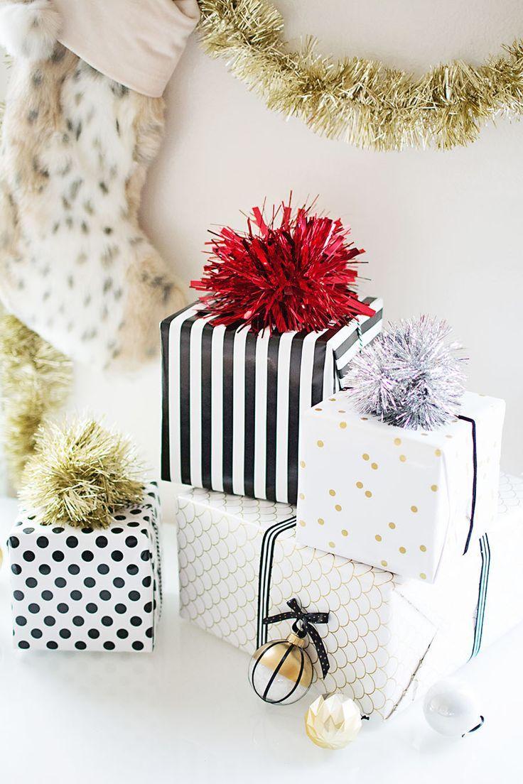 DIY Gift Wrapping Ideas : DIY Tinsel Pom Poms – A great alternative ...