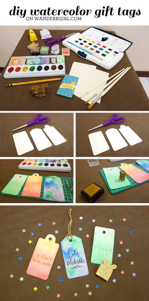 Diy Gift Wrapping Ideas Diy Tutorial Watercolor Gift Tags For