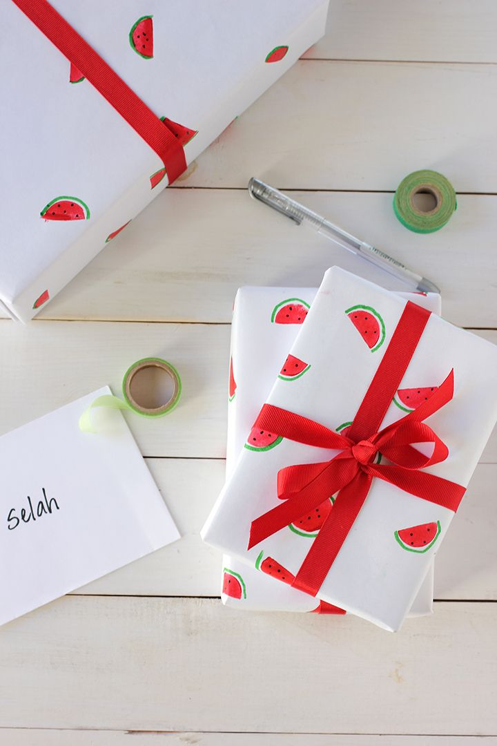 DIY Watermelon Wrapping Paper