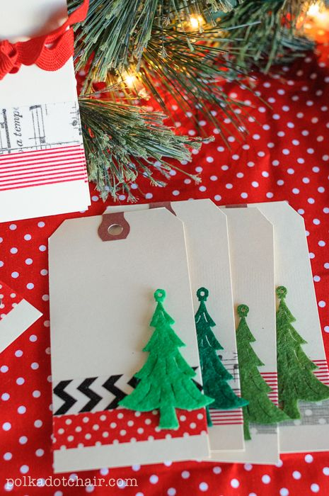 Easy! Use Washi Tape to decorate plain shipping tags to make Christmas Gift Tags...