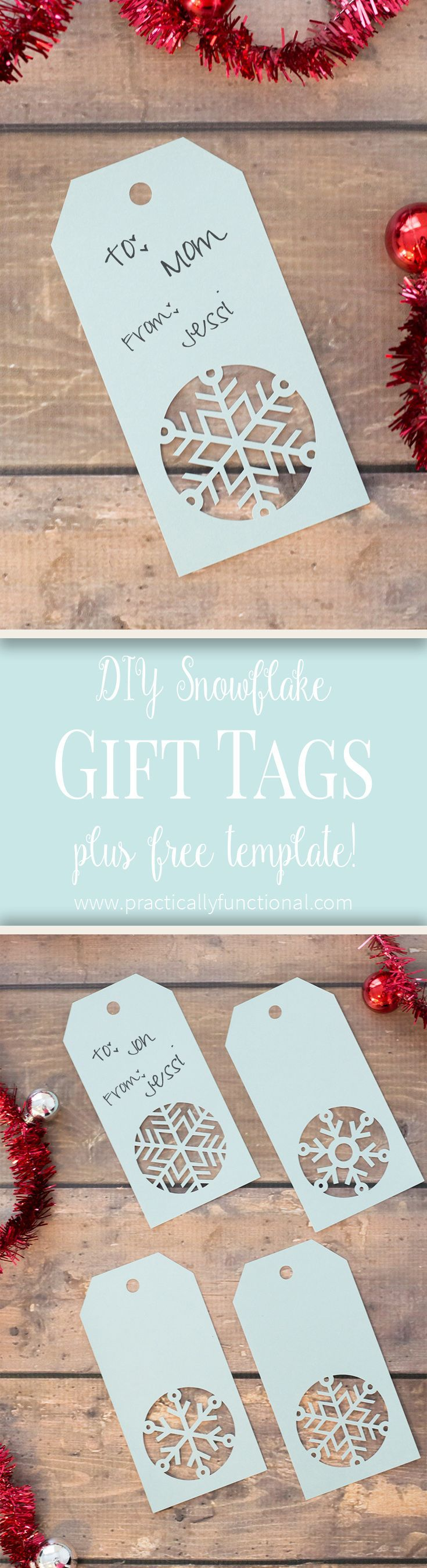 Love these handmade snowflake Christmas gift tags! Get the free cuttable file or...