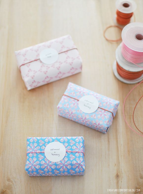 Make these DIY paper wrapped soaps using the Free Printable Geo Hearts Patterned...