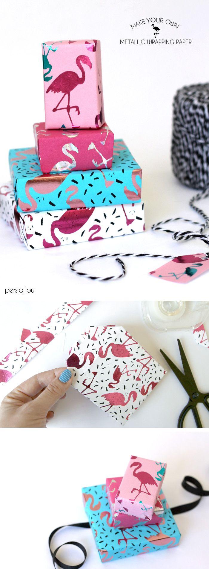 DIY Gift Wrapping Ideas : Make your own metallic flamingo wrapping ...