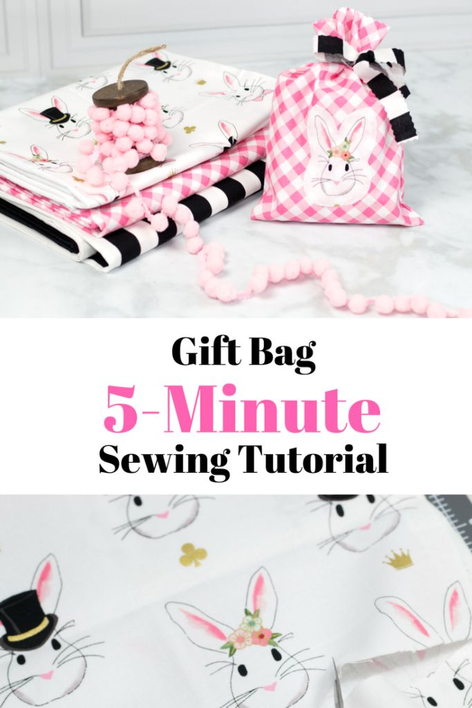 Quick and easy 5 Minute Fabric Gift Bag Tutorial - #handmadegift #sewing #sewing...