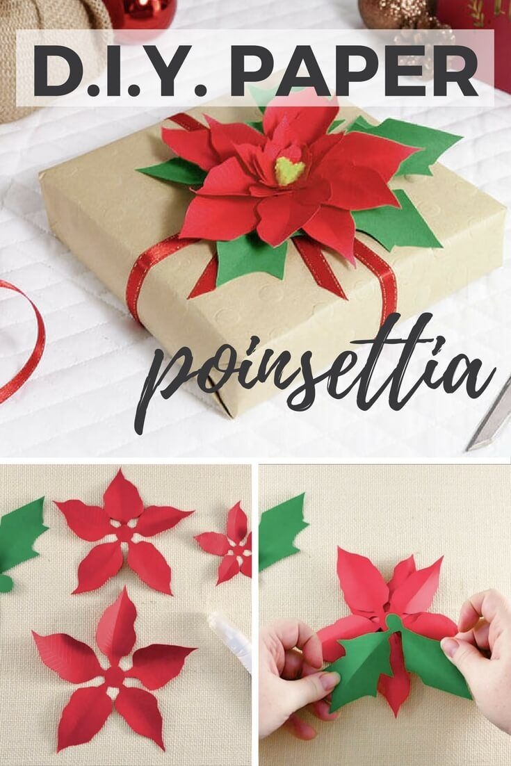 This DIY paper Poinsettia makes a perfect Christmas gift embellishment! Grab the...