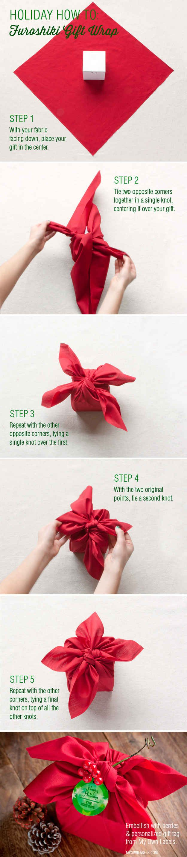 Wrap with fabric.   23 Tricks To Take The Stress Out Of Wrapping Gifts