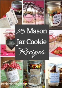 25 #MasonJar cookie #recipes - Great #gifts for teachers, babysitters, mail peop...