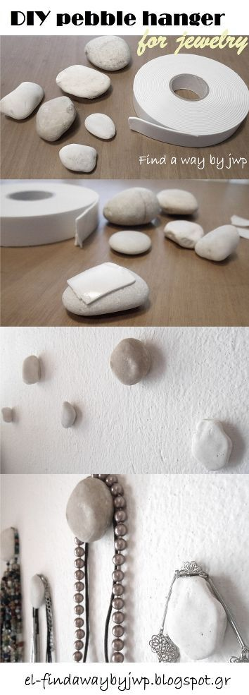 DIY Pebble Hangers for Jewelry. So cute and simple. Repinned by your friends at ...