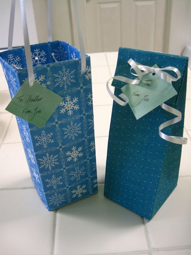 Easy DIY gift bags, each one takes about 3 minutes and costs $0.10. (Pics and st...