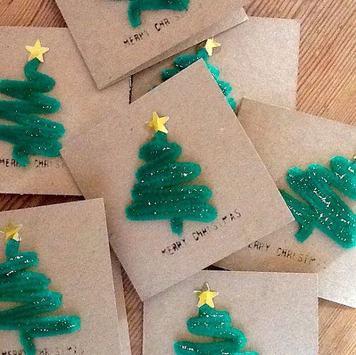 Learn how to make a christmas tree out of green pipe cleaners for a Christmas ca...