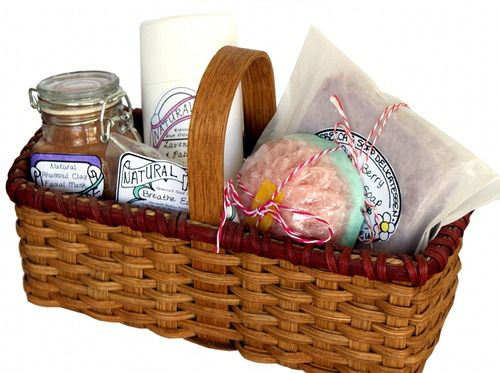 Need a homemade gift idea? This gift basket filled with handmade bath and body p...