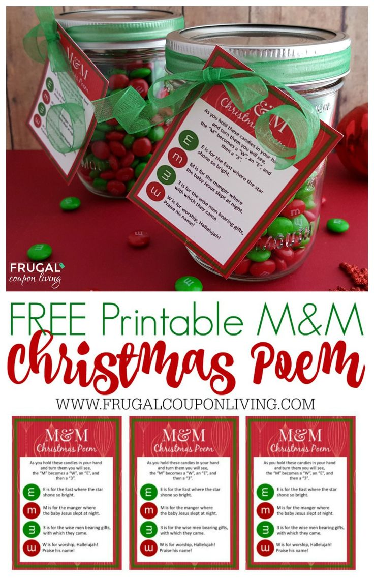 DIY Gifts : Frugal Coupon Living\'s M&M Christmas Poem and FREE ...