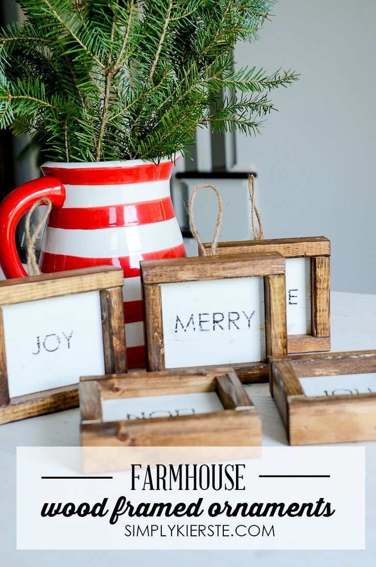 Add some farmhouse style to your Christmas tree with these adorable Wood Framed ...