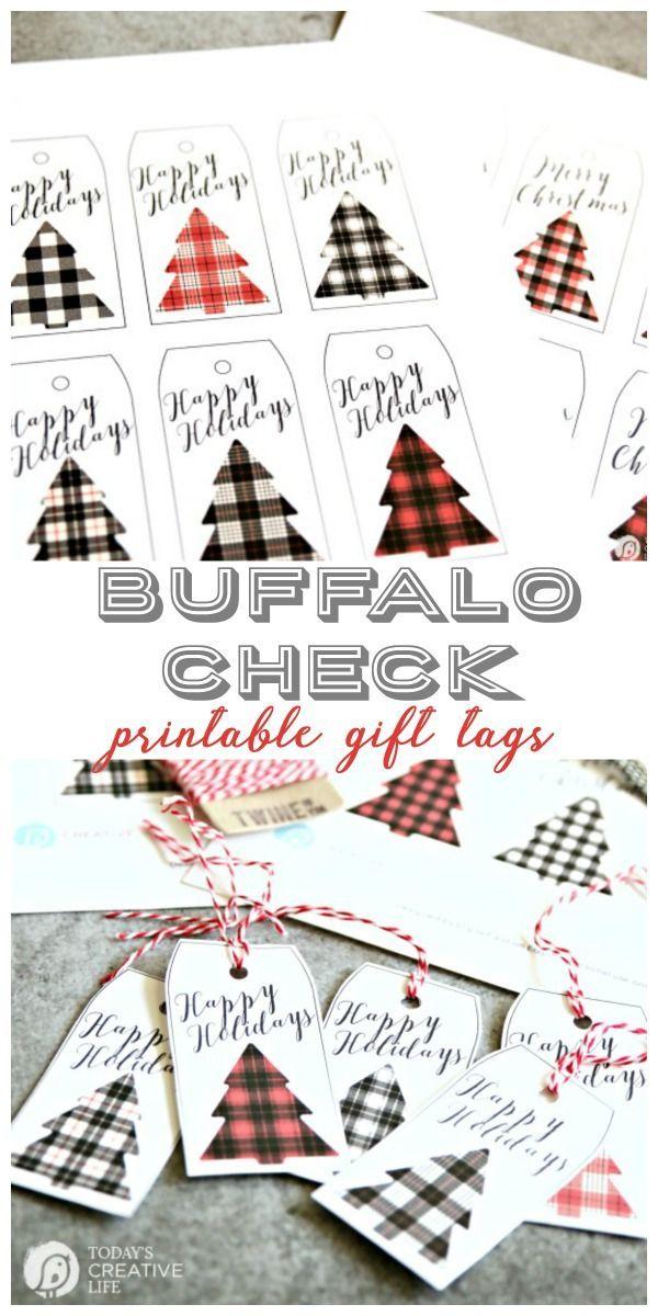 Buffalo Check Holiday Tags | Free printable Christmas gift tags are great for ea...