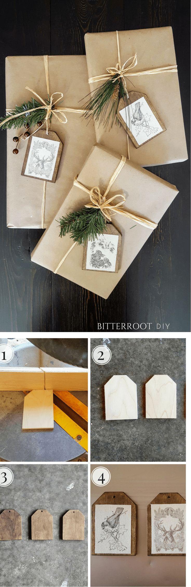Christmas Gift Wrapping - DIY Wood Gift Tags  |  #christmas #diychristmas #chris...