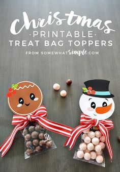 CHRISTMAS - These Christmas Treat Bag Toppers can be used as gifts, party favors...