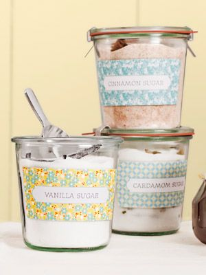 Make these flavored sugars gift-ready by packaging them in glass jars and attach...