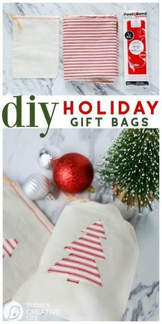 Heat N Bond Holiday Gift Bags | Cotton draw string bags with iron-on Christmas T...