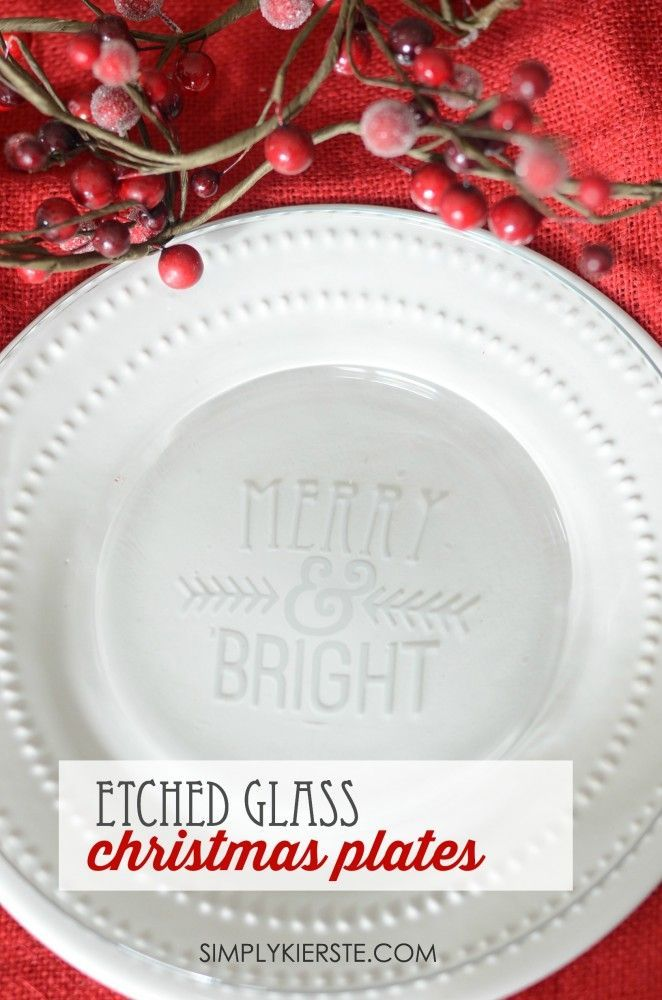 It takes just minutes to make these darling Etched Glass Christmas Plates, and t...