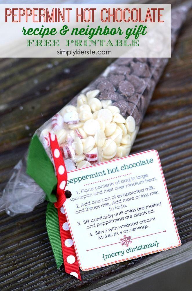 Peppermint Hot Chocolate Neighbor Gift | simplykierste.com