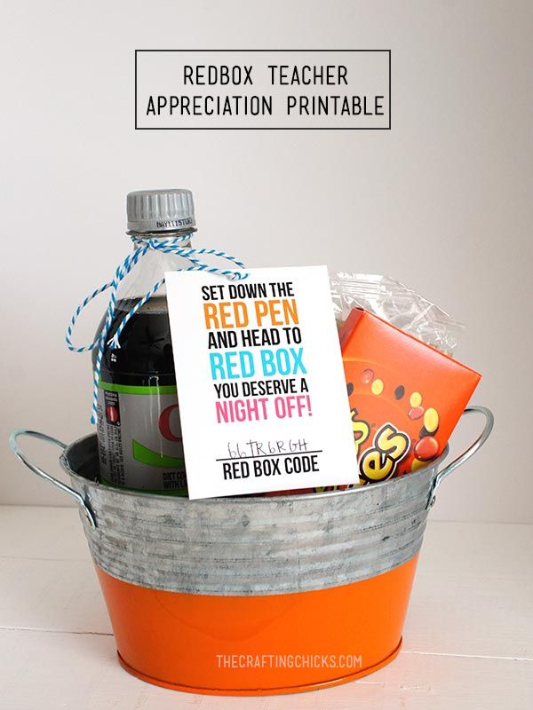 DIY Gifts Ideas : Give teacher a night off with a RedBox movie night ...